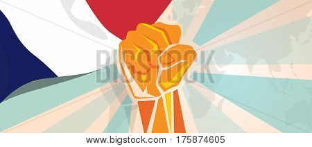 France fight and protest independence struggle rebellion show symbolic strength with hand fist illustration and flag vector