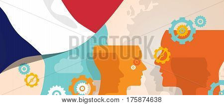 France concept of thinking growing innovation discuss country future brain storming under different view represented with heads gears and flag vector