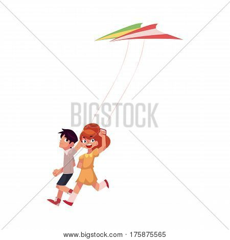 Two friends, boy and girl, running together with colorful kites, cartoon vector illustration isolated on white background. Teenage boy and pretty girl running happily together with kites