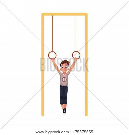 Teenage Caucasian boy hanging on gymnastic rings at the playground, cartoon vector illustration isolated on white background. Boy hanging on flying rings, little gymnast having fun at the playground