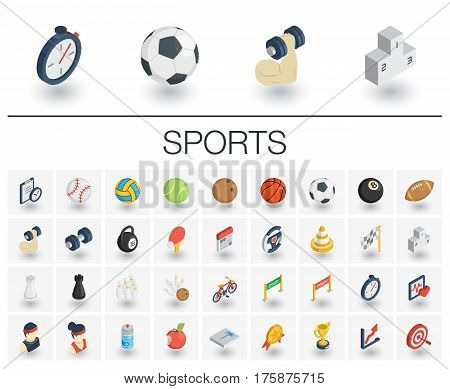 Isometric flat icon set. 3d vector colorful illustration with sport and fitness symbols. Ball, game, cup medal, trophy, football, volleyball colorful pictogram Isolated on white