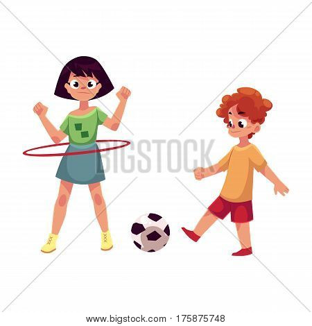 Boy and girl playing football and spinning hula hoop at playground, cartoon vector illustration isolated on white background. Two friends playing at playground, summer outdoor activity concept