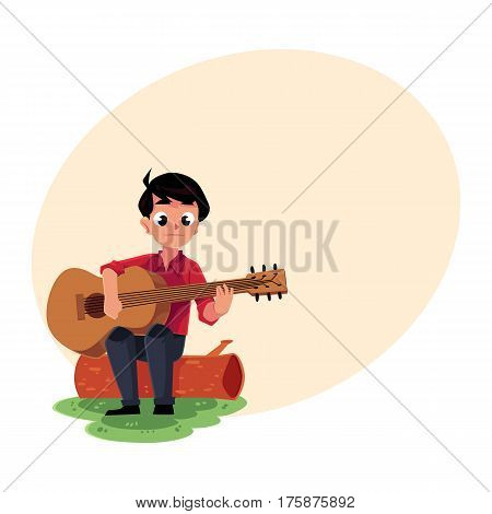 Teenage Caucasian boy playing guitar sitting on a log, camping, hiking concept, cartoon vector illustration with place for text. Boy scout, tourist playing guitar in camping