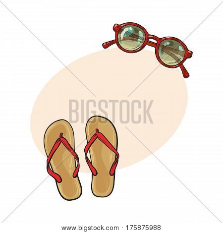 Pair of flip flops and round sunglasses, summer objects, vacation attributes, sketch vector illustration with place for text. Hand drawn flip flops, sandals and round sunglasses