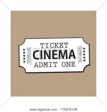 One retro style, vintage cinema, movie ticket, black and white sketch vector illustration isolated on brown background. Hand drawn cinema, movie ticket, pass, cinema object