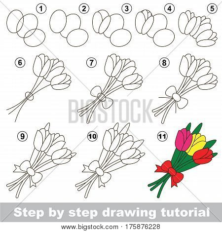 Kid game to develop drawing skill with easy gaming level for preschool kids, drawing educational tutorial for Tulip Bouquet
