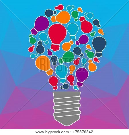 Ideas for techology. Tools and services for network. Light bulb with icons in flat style for tools, programs, slides. Vector illustration concept of UX thought and enlightenment.