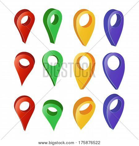 3d Map Pointer Vector. Colorful Set of Modern Map Round Pointers. Navigator Icon Isolated On White
