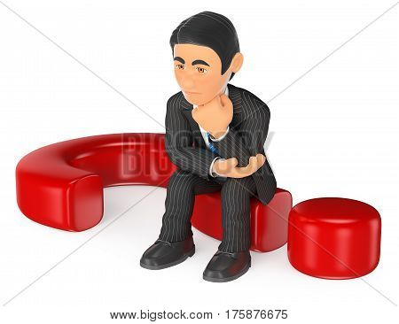 3d business people illustration. Businessman thoughtful sitting on a question mark. Isolated white background.