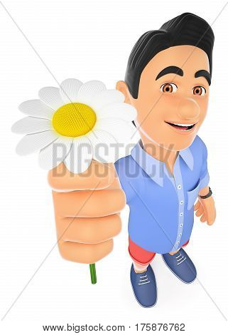 3d young people illustration. 3D man in shorts with a daisy. Spring. Isolated white background.