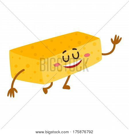 Funny dish washing sponge character with smiling human face, cartoon vector illustration isolated on white background. Smiling dish washing sponge character, house cleaning concept