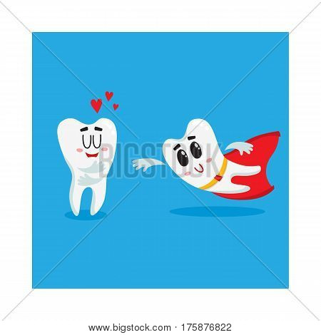 Two funny tooth characters, one superhero, another showing love, dental health protection concept, isolated cartoon vector illustration. Superhero and loving tooth characters, mascots, dental health