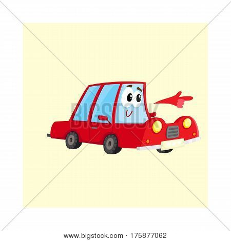 Cute and funny red car character pointing to something with its hand, cartoon vector illustration isolated on white background. Funny red car character, mascot pointing, drawing attention to something