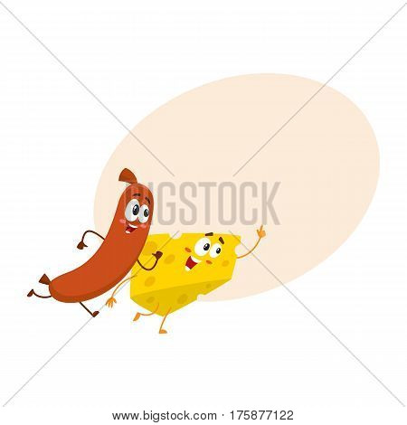 Frankfurter sausage and cheese chunk characters running, hurrying somewhere together, cartoon vector illustration with place for text. Cheese and sausage characters, mascots with human faces