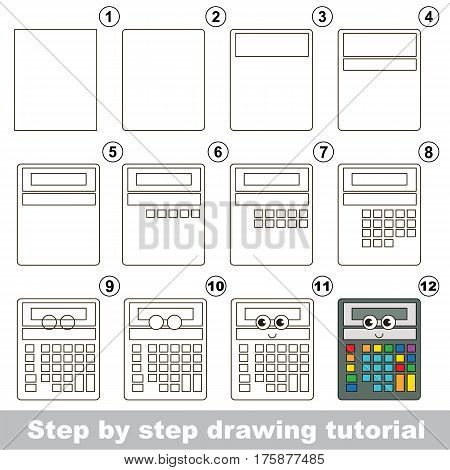 Drawing tutorial for preschool children, the easy educational kid game with simple game level of difficulty, how to draw Calculator.
