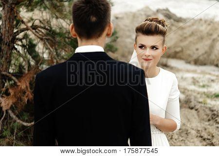Happy Bride Looking At Her Groom At Sandy Lake, Luxury Elegant Wedding