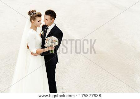 Stylish Bride And Groom At Sandy Coast Hugging, Luxury Wedding