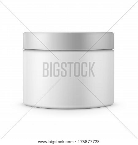 Round white matte plastic jar with lid for cosmetics - body cream, butter, scrub, bath salt, gel, skin care, powder. Realistic packaging mockup template. Front view. Vector illustration.