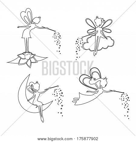 Set of outline Fairy with a magic wand vector illustration. Set of Thin line  Fairy with a magic wand. Fairy for children, girls, kids. Silhouette  Fairies  vector collection.