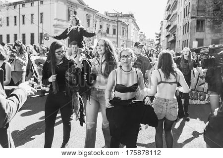 MILAN ITALY - MARCH 8: Secondary school students take part in a march to celebrate the International Wome's Day on MARCH 8 2017 in Milan.