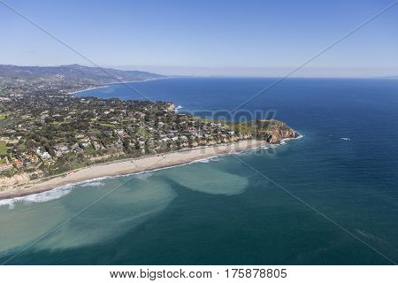 Aerial view of Westward Beach and Point Dume in Malibu, California.