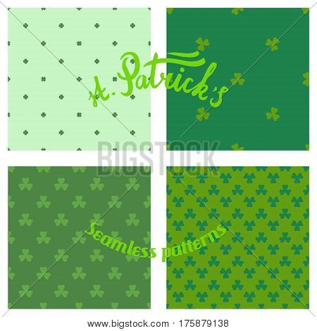 hand drawn lettering and set of seamless st Patrick's day patterns, tileable vector collection