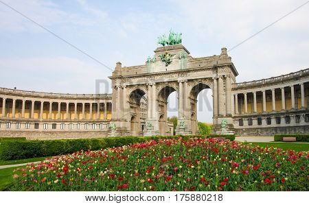 The Triumphal Arch (Arc de Triomphe) in the Parc du Cinquantenaire or Jubelpark in the European Quarter in Brussels.