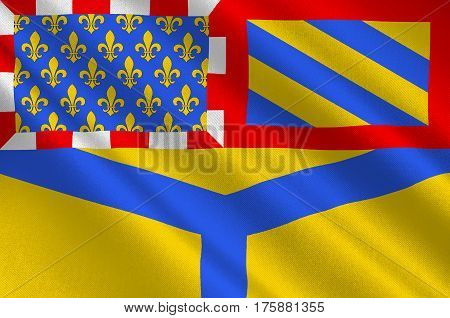 Flag of Yonne - department in eastern France a department of the Burgundy region. The administrative center - Auxerre. 3D illustration