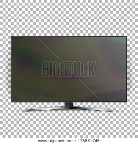 Screen Lcd Plasma Vector Isolated On Checkered Background.