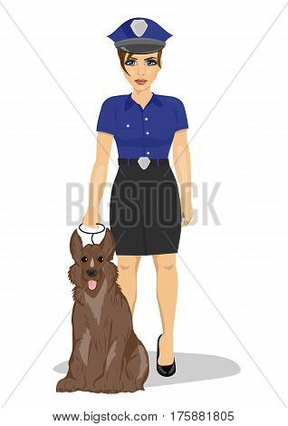 young policewoman standing with a dog over white background