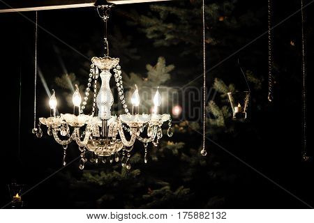 Candle Light In Glass Lanterns And Gorgeous Lamp At Luxury Wedding Ceremony In Evening, Decor And Ar
