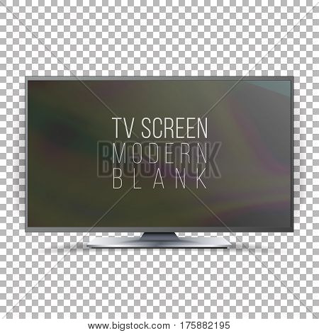 Screen Lcd Plasma Vector. Realistic Flat Smart TV. Curved Television Modern Blank