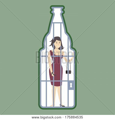 Alcoholism concept illustration. Alcoholic in bottle jail, locked. Drunk sad addicted woman.