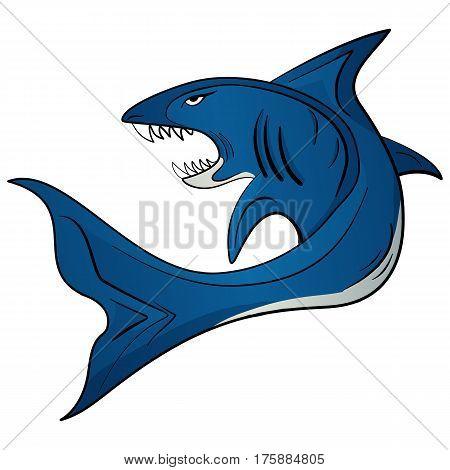 Vector hand drawn illustration cartoon toothy white shark
