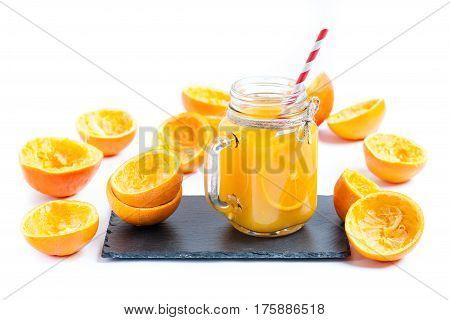 isolated on white background squeezed orange juice