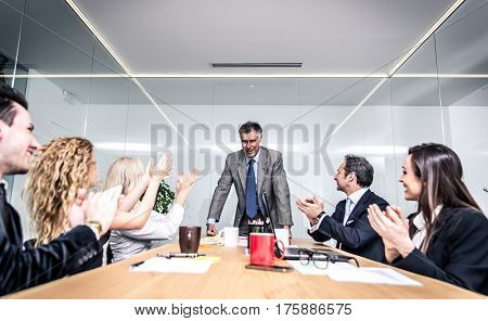 Office people working and talking about business plans