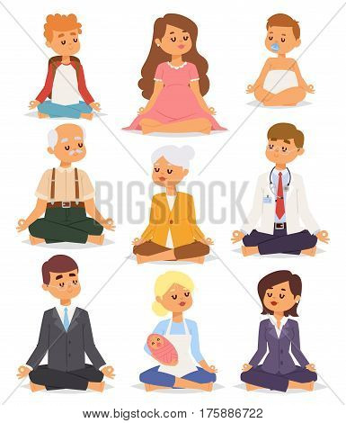 Lotus position yoga pose meditation art relax people relax isolated on white background design concept character happiness vector illustration. Healthy lifestyle zen body asana.