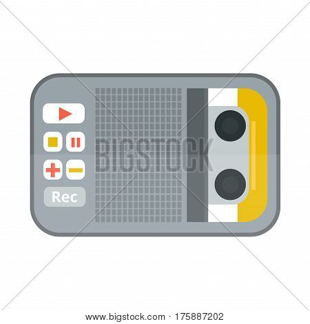 Tape recorder or dictaphone flat icon isolated on white background vector illustration. Journalism dictaphone media equipment. Hand dictaphone cartoon vector.