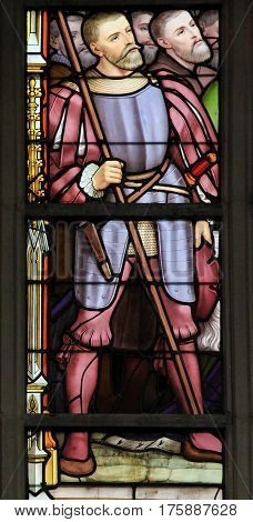 Stained Glass - Soldier Holding A Lance