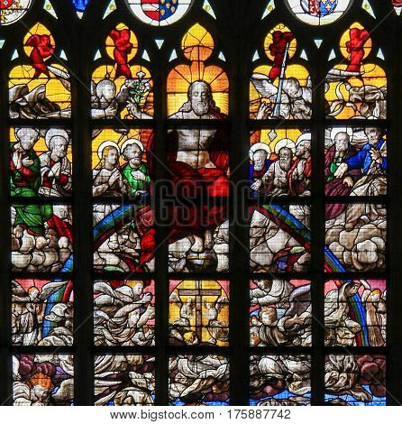 Stained Glass - Last Judgment In Brussels Cathedral