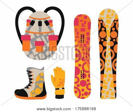 Snowboard sport clothes and tools elements. Snowboarding elements isolated on white background. winter sport equipment