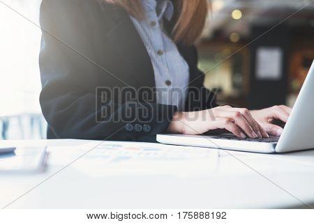 Businesswoman Hands Typing On Laptop Keyboard.