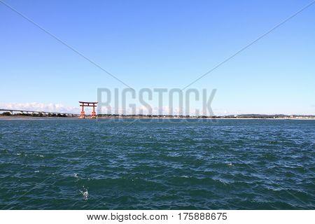 Torii Gate On Hamanako Lake In Hamamatsu, Shizuoka, Japan