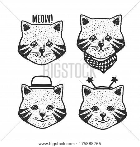 Hand drawn cartoon cat head prints set. Cute hand crafted design elements for apparel prints, posters, wall decor. Vector vintage illustration.