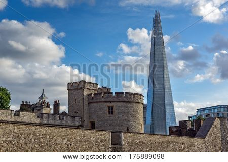LONDON, ENGLAND - JUNE 15 2016: Panorama with Tower of London and The Shard, London, England, Great Britain