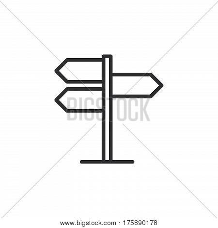 Signpost pointer line icon outline vector sign linear style pictogram isolated on white. Symbol logo illustration. Editable stroke. Pixel perfect