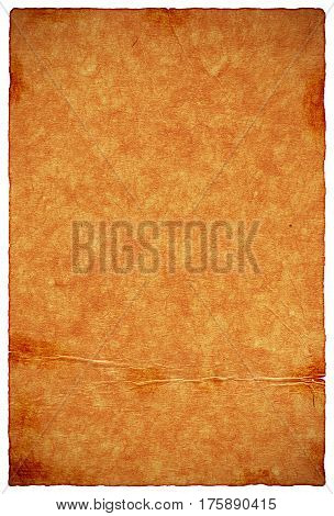 Burnt rough parchment paper texture background with space for text or image