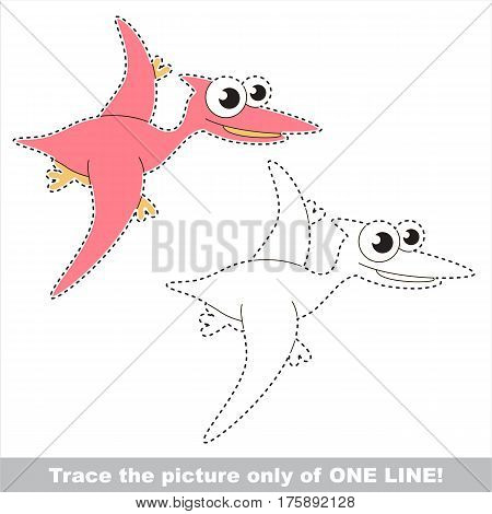 Pterodactyl to be traced only of one line, the tracing educational game to preschool kids with easy game level, the colorful and colorless version.