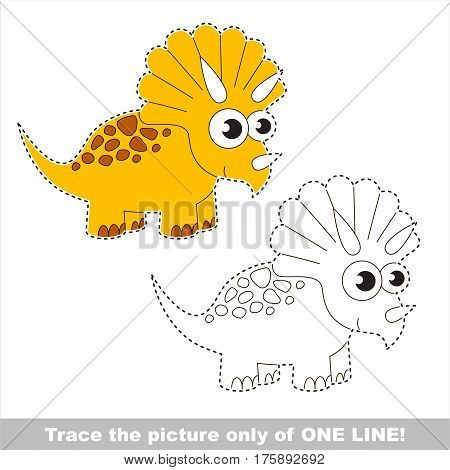 Triceratops to be traced only of one line, the tracing educational game to preschool kids with easy game level, the colorful and colorless version.