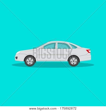 Icon of the passenger car with a shadow on the isolated green background. The vehicle in flat style. Design element. Vector illustration.